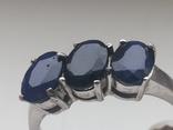Кольцо серебро 925 с сапфирами, фото №5