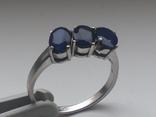 Кольцо серебро 925 с сапфирами, фото №6