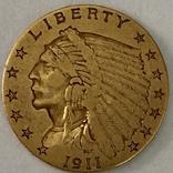 2,5 доллара. 1911. США (золото 900, вес 4,12 г), фото №3