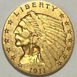 2,5 доллара. 1911. США (золото 900, вес 4,12 г), фото №2