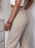 Штаны женские теплые спортивные джогеры на флисе бежевые, фото №4