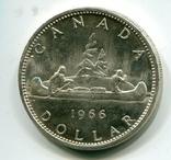 Канада 1 доллар 1966 г. Серебро Каноэ, фото №2