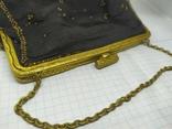 Вечерняя винтажная сумочка с латунной застежкой и цепочкой, фото №3