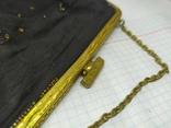 Вечерняя винтажная сумочка с латунной застежкой и цепочкой, фото №4