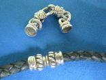 Кулон серебро,цирконии,кожа,магниты,родий., фото №7