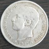 Испания 5 песет 1885 г. Альфонсо 12-й, фото №2