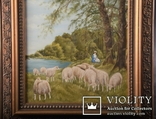 Картина. Сельский пейзаж. Масло. Подпись J.Lugert ., фото №4