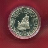 Ямайка 25 долларов 1994 серебро Королева Мать, фото №2