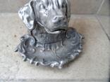 Пепельница белая голова собаки металл СССР, фото №3