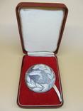 Серебряная медаль (не врученая) Победителя рыбной ловли, Англия, 1979г., 59гр., 5 см., фото №3