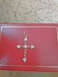 Крестик золотой проба 585 украинская вес 1,16 гр., фото №2