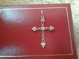 Крестик золотой проба 585 украинская вес 1,16 гр., фото №6