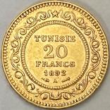 20 франков. 1892. Тунис (золото 900, вес 6,43 г), фото №3