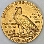 5 долларов. 1911. США (золото 900, вес 8,35 г), фото №4
