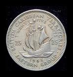 Британские Карибы 25 центов 1965, фото №2
