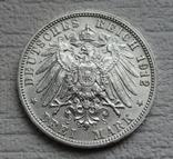 3 марки 1912 г., Вюртемберг, серебро, фото №10
