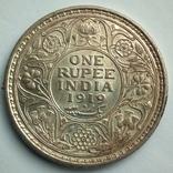 Британская Индия 1 рупия 1919 г., фото №3