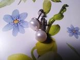Срібні сережки з натуральними перлинами на закрутках, фото №5