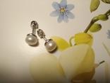 Срібні сережки з натуральними перлинами на закрутках, фото №6