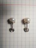Срібні сережки з натуральними перлинами на закрутках, фото №8