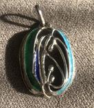 Массивный серебряный кулон с тиле ар нуво с эмалями (серебро 800 пр, вес 11,6 гр), фото №3