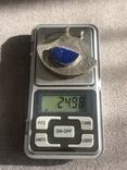 Массивный серебряный кулон с лазуритом, штихель (серебро 925 пр, вес 25 гр), фото №3