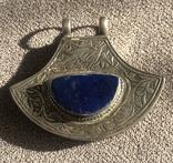 Массивный серебряный кулон с лазуритом, штихель (серебро 925 пр, вес 25 гр), фото №4