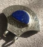 Массивный серебряный кулон с лазуритом, штихель (серебро 925 пр, вес 25 гр), фото №5