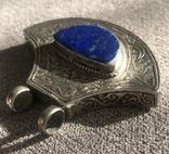 Массивный серебряный кулон с лазуритом, штихель (серебро 925 пр, вес 25 гр), фото №2
