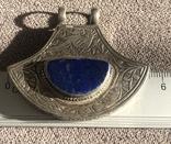 Массивный серебряный кулон с лазуритом, штихель (серебро 925 пр, вес 25 гр), фото №8