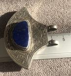 Массивный серебряный кулон с лазуритом, штихель (серебро 925 пр, вес 25 гр), фото №9