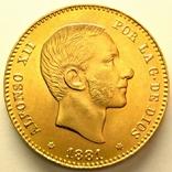 Испания 25 песет 1881 г., фото №2
