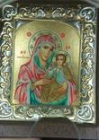 Копия,икона Византийская божья матерь, в серебряном окладе 925 пробы, фото №2