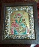 Копия,икона Византийская божья матерь, в серебряном окладе 925 пробы, фото №4