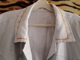 Мужская льянная сорочка с накладными карманами,вышитым воротником ,на пуговицах. СССР., фото №3