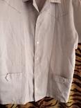 Мужская льянная сорочка с накладными карманами,вышитым воротником ,на пуговицах. СССР., фото №6