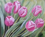 Картина, Тюльпановые фантазии, 25х30 см. Живопись на холсте, фото №5