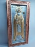 Мощевик-икона Святого преподобного Сергия Радонежского с частицей., фото №4