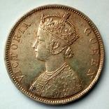 Британская Индия 1 рупия 1862 г. - Виктория (первый год чеканки), фото №2