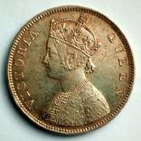 Британская Индия 1 рупия 1862 г. - Виктория (первый год чеканки), фото №3