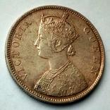 Британская Индия 1 рупия 1862 г. - Виктория (первый год чеканки), фото №5