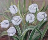 Картина, Белые тюльпаны, 25х30 см. Живопись на холсте, фото №3