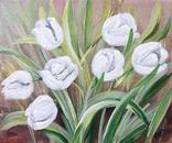 Картина, Белые тюльпаны, 25х30 см. Живопись на холсте, фото №4