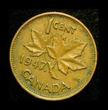 Канада цент 1947 кленовый лист после года, фото №2