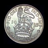 Великобритания шиллинг 1938  серебро шотландский, фото №3
