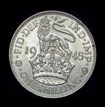Великобритания шиллинг 1945 Unc серебро, фото №2