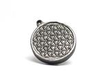 """Двохсторонній круглий кулон з геометричним орнаментом """"Квітка життя"""" із метеорита Aletai, фото №7"""