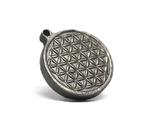 """Двохсторонній круглий кулон з геометричним орнаментом """"Квітка життя"""" із метеорита Aletai, фото №8"""