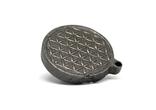 """Двохсторонній круглий кулон з геометричним орнаментом """"Квітка життя"""" із метеорита Aletai, фото №9"""