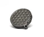 """Двохсторонній круглий кулон з геометричним орнаментом """"Квітка життя"""" із метеорита Aletai, фото №10"""